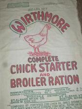 Vintage 100 lbs WIRTHMORE CHICK STARTER BROILER RATION FEEDSACK Feed Bag Sack