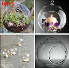6x Garden Glass Hanging Candle Tea Light Holder Candlestick Christma Party Decor