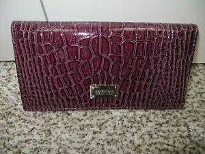 NWT Kenneth Cole Reaction Slim Clutch Wallet Purple patent alligator MSRP $50