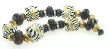 OliveStuart Handmade Lampwork Beads 11 black/gold/white tile/round