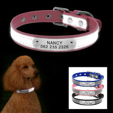 Custom Personalized Reflective Dog Collar Laser Engraved ID Name Tag Adjustable