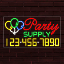 """New """"Party Supply"""" w/Your Phone Number 37x20x1 Inch Led Flex Indoor Sign 35090"""