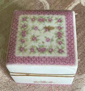 Vintage LEFTON HAND PAINTED Square TRINKET BOX LID PINK Trim ROSE GOLD