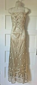 Aspeed Gold Lace Overlay Maxi Dress Gown Party Evening Shimmer NWT