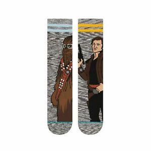 Stance Men Grey Gold Crew Cotton Star Wars Kessel Run Graphic Socks Sz L 9-12