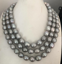 single strands11-12mm south sea silver grey pearl necklace 48inch 925s