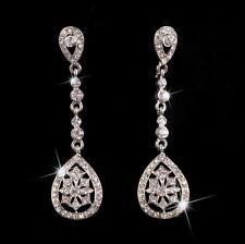 Bridal Wedding Rhinestones Crystal Diamante Dangle Long Tear Drop Earrings NEW