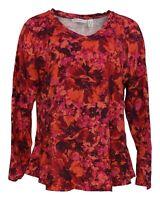 Isaac Mizrahi Live! Women's Top Sz L Floral Ruffle Curved Hem Knit Red A372744