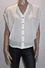 SUPRE Brand Cream Chiffon Button Front Blouse Top Size M BNWT #SF72