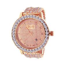 Mens Sleek Khronos Custom Solitaire Watch Real Diamond Rose Gold Tone Band Bezel