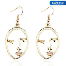 Trendy Hollow Abstract Face Gold Pendant Women Art Stylish Dangle Drop Earrings
