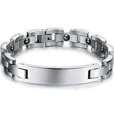 Edelstahl Silber Herren Armband Armreif Magnetarmband Männer Armschmuck 215 mm