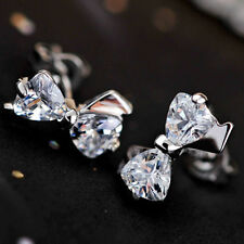 1PAIR SILVER CZ CRYSTAL BOW BOWKNOT TIE ZIRCONIA EAR STUD EARRINGS JEWELRY GIFT