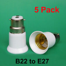 5x Light/ Lamp Fitting Adapter/Converter B22/BC To E27/ ES Edison Screw Fittings