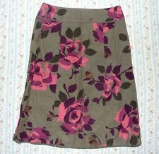 MONSOON CORD SKIRT. SIZE 10. OLIVE GREEN WITH ROSES.