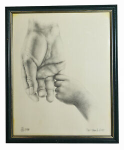 """14"""" 1989 Limited Edition Signed Print Baby Holding Hand Love Life Wall Art"""