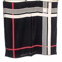 Vintage Lady Van Laack Ltd 1980 White, Red Black Scarf 100% Silk Made in Italy