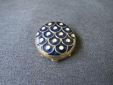 Vintage blue & creamy enamel goldtone metal Estee Lauder solid perfume 3/4 full