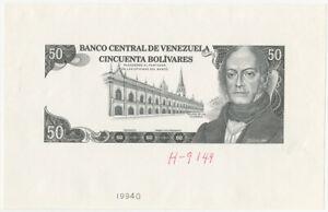 Banco Central De Venezuela 1990-92 50 Bolivares P-72 Unl Face Proof, P-72 ABN