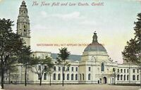 Wales Cardiff Town Hall & Law Courts Vintage Postcard 20.10