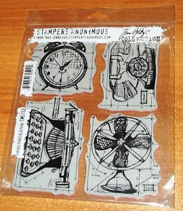 RUBBER CLING HOLTZ STAMPERS ANONYMOUS STAMPS CMS152 VINTAGE THINGS  wks CTMH blk