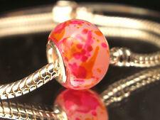 Edler Glas Bead Element Pink Gelb Weiß Farbe Silber für Armband 0452
