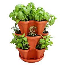 Mr. Stacky Self Watering 3 Tier Stackable Garden Vertical Planter Set, Terracott