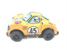 """Vintage Tin Toy Metal Friction 3"""" Yellow Ford Race Car Made in Japan GUC"""