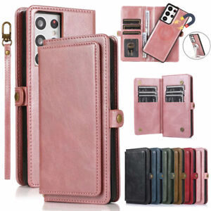 Samsung S21+ S20 Note 20 Ultra S10 S9 S8 Leather Magnetic Wallet Card Case Cover