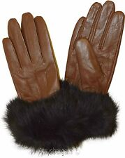 Real Fox fur, Leather Gloves (S) Women's Gloves, Warm Lined Winter Dress Gloves