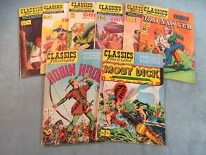 Classics Illustrated Comic Book Lot Moby Dick Robin Hood Tom Sawyer Dell Silver