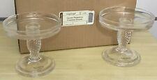 Longaberger Pottery Glass Pedestal Candle Stands Set of 2