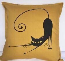 "'Stretchy' Cat Print Mustard/Gold Cushion Cover - 50cm x 50cm (19"" x 19"")"