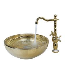 Bathroom Round Tempered Ceramic Vessel Sink Golden Swivel Faucet Lavatory Set