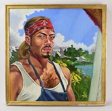 Oil Painting Portrait of Man Wearing Tank Top Bandana Bondgren Chicago Artist