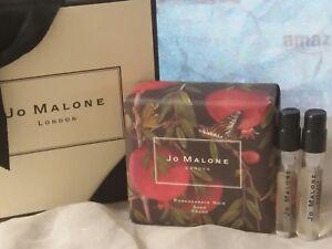 NIB JO MALONE POMEGRANATE NOIR BATH SOAP + RANDOM PERFUME SAMPLE VIALS 2 PCS