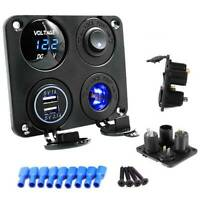 12V Car Cigarette Lighter Socket + Dual USB Port Charger + Voltmeter Panel