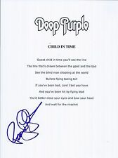 Roger Glover Signed Autographed Child In Time Lyric Sheet Deep Purple Proof