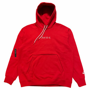 Size L - Nike Just Do It Heavyweight Sweatshirt Hoodie JDI NSW Red CI9406 657