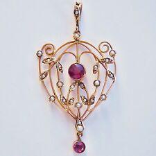 Antico Vittoriano 9 KT Oro Granato Almandino & seme Collana con pendente perla c1900