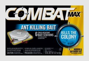 COMBAT MAX Bait Station ANT KILLER In & Outdoor Child Resistant .21oz 6 ct 55901