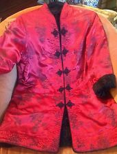 Red Satin Brocade Chinoiserie Jacket Fleece Reversible Warm Vtg Custom Medium