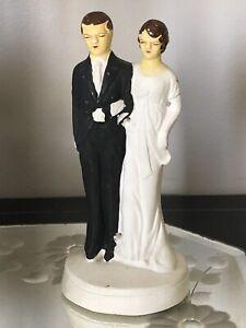 Vintage 1930's Chalkware Plaster Art Deco Bride & Groom Wedding Cake Topper