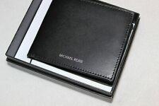 Michael Kors Men's Genuine Leather Black Bifold Passcase Wallet NIB $98