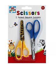 Pack of 2 Animal Print Pattern Scissors Childrens Kids Safety Art Crafts School