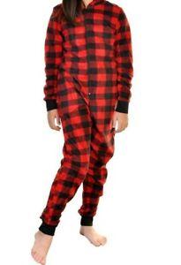 Just Love Printed Flannel Blanket Sleepers Onsies for Kids Red Plaid COZY