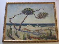 ANTIQUE  FRED STEWART PAINTING EARLY CALIFORNIA LANDSCAPE LARGE COASTAL DUNES