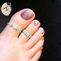 Women Girl Foot Rhinestone Toe Ring Barefoot Jewelry Celebrity Finger Beach