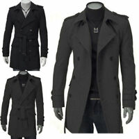 Fashion Cool Mens Double Breasted Trench Coat Winter Long Jacket Overcoat Army