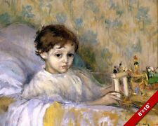 YOUNG SICK CHILD IN BED PLAYING WITH TOY PAINTING CHILDREN ART REAL CANVAS PRINT